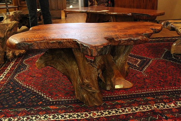 Redwood Furniture Showcase Curly Redwood Burl Table