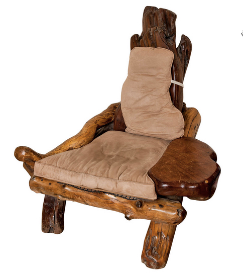 A Rustic Redwood Chair, Of Large Proportions.