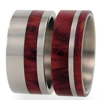 Redwood Jewelry Showcase Titanium Redwood Wedding Ring Set Buy