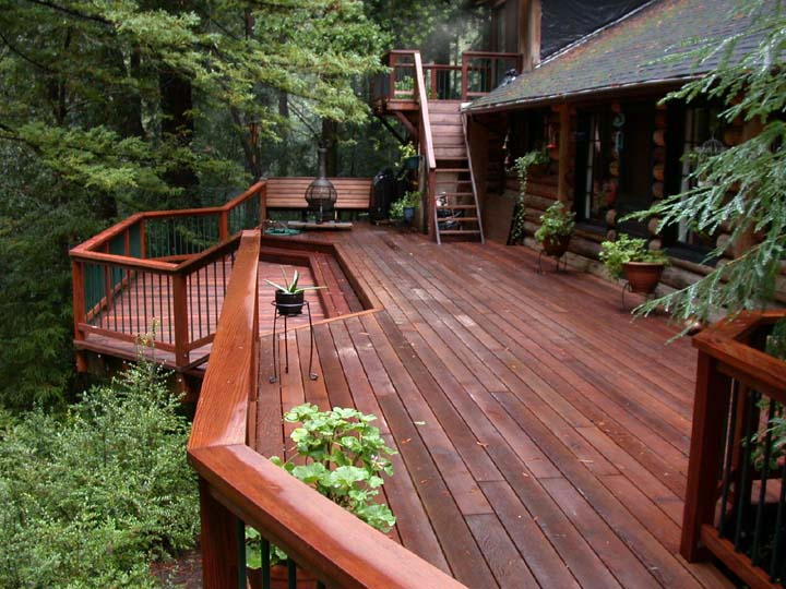 Redwood deck in the trees buy redwood for Redwood vs composite decking