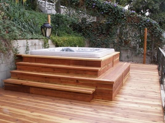 hot tub deck. Redwood Hot Tub Deck O