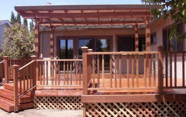 Custom redwood deck patio cover buy redwood for Redwood patio cover