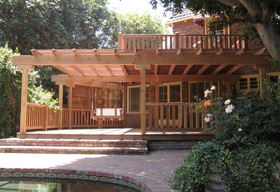 Kirsch Korff L A Redwood Two Story Deck Amp Arbor Buy Redwood